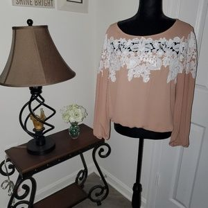 Embroidered Sheer Long Sleeve Blouse